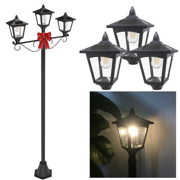 Kanstar 72 triple head street vintage outdoor garden post solar kanstar 72 triple head street vintage outdoor garden post solar lamp post light lawn workwithnaturefo