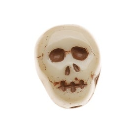 Czech Glass Small Ivory Color Skull Beads Pendants 12mm (10)