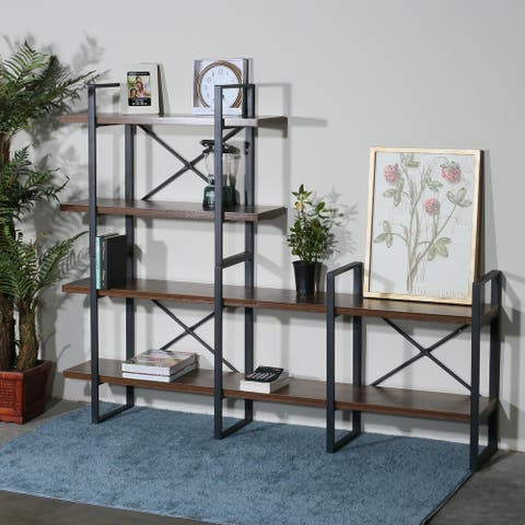 Adjustable Wood and Metal Display and Etagere Bookshelves and Bookcases - 70.86*56.69*11.34 inches
