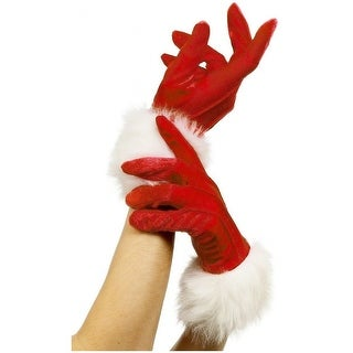 Short Red Santa Gloves Adult Costume Accessory