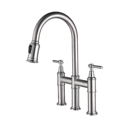 Bridge Kitchen Faucet with Pull-Down Sprayer