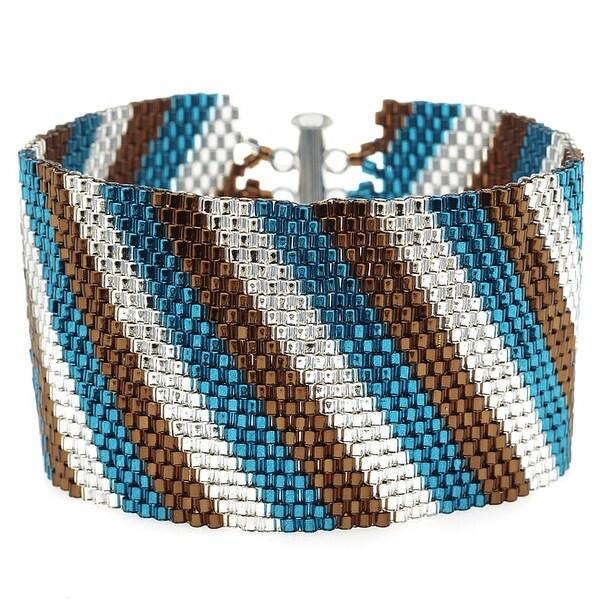 Diagonal Striped Peyote Bracelet (Teal/Brn) - Exclusive Beadaholique Jewelry Kit