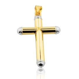 10K Yellow Gold Cross Charm 43mm Tall Two Tone