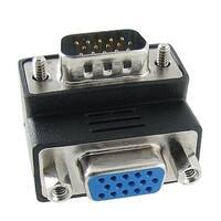 Unique Bargains M/F Male VGA Port to Female VGA Right Angle Connector