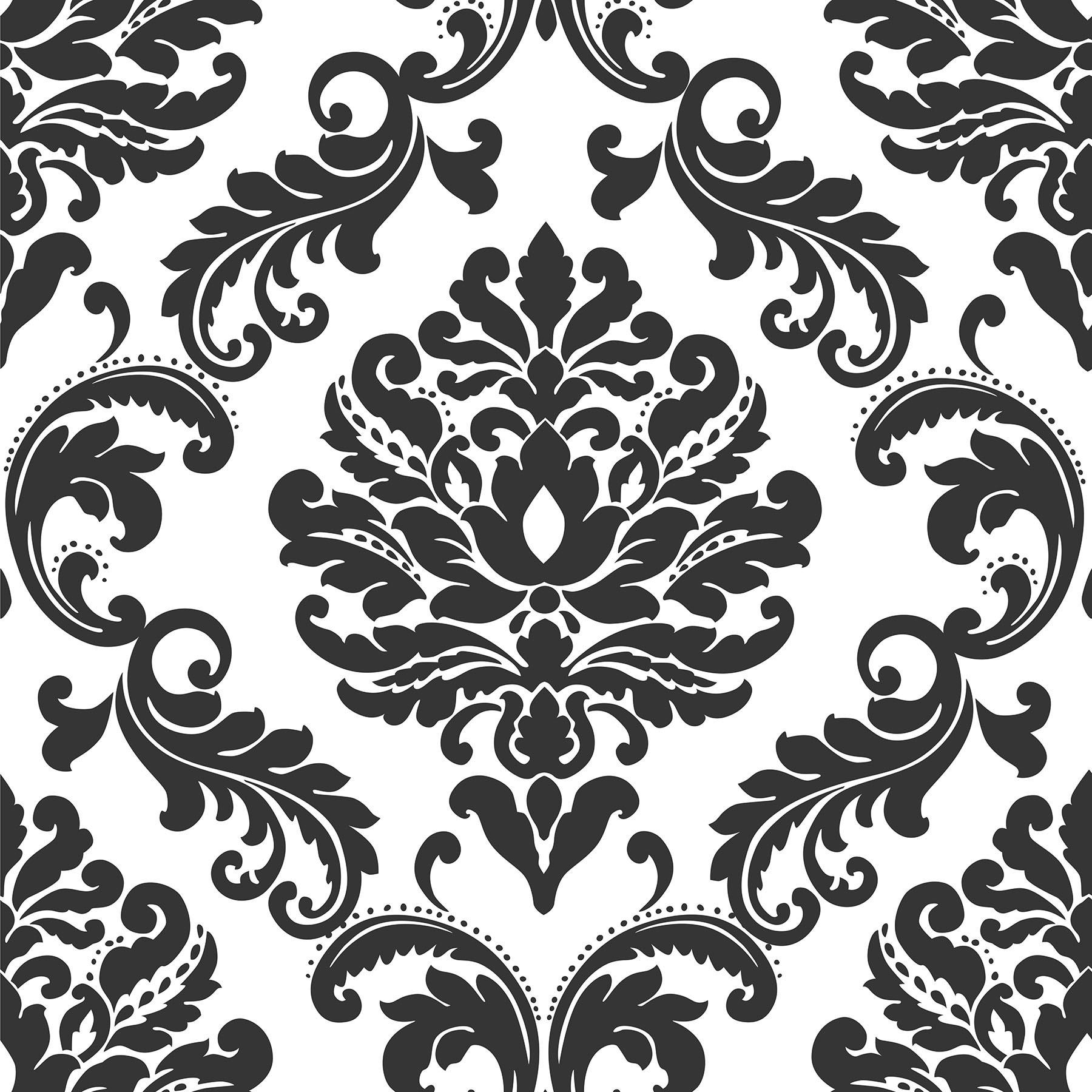 Shop Brewster Nu1646 30 3 4 Sf Ariel Black And White Damask Peel
