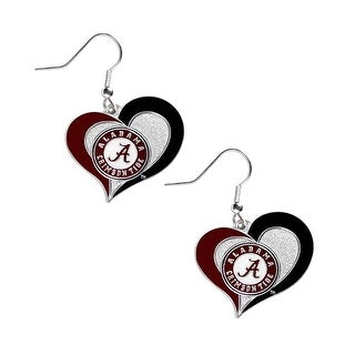 Alabama Crimson Tide Swirl Heart Dangle Logo Earring Set Charm Gift NCAA