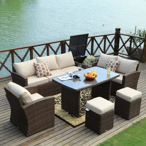 Cushined Outdoor 7-piece Patio Wicker Coversation Dining Set with Storage Box