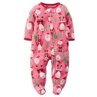 Carters Girls 0-9 Months Santa Fleece Sleep N Play - Pink