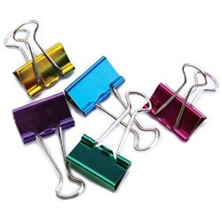 "Medium Binder Clips 1"" 5/Pkg-Assorted Colors"