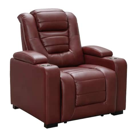 Abbyson Marlow Top Grain Leather Dual Power Home Theater Recliner