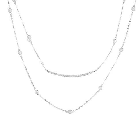 Double Bezel-Set Cubic Zirconia Strand Necklace, Sterling Silver