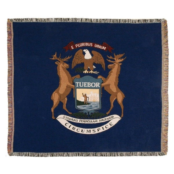 "Blue State Flag of Michigan Woven Tapestry Afghan Throw Blanket 60"" x 50"""