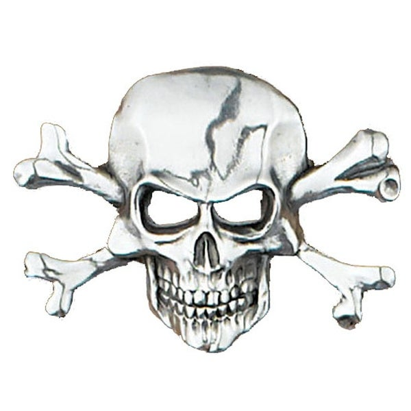 Skull & Crossbones Silver Tone Belt Buckle - One size