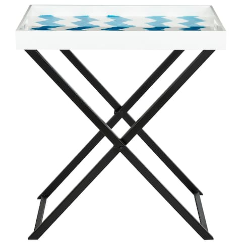 SAFAVIEH Abba Blue/ White Tray Table - 0
