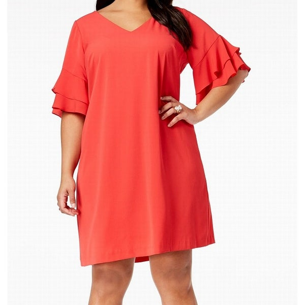 b1ef183bf8ea3 Shop Jessica Howard Womens Size 18W Plus Ruffle Sleeve Shift Dress ...