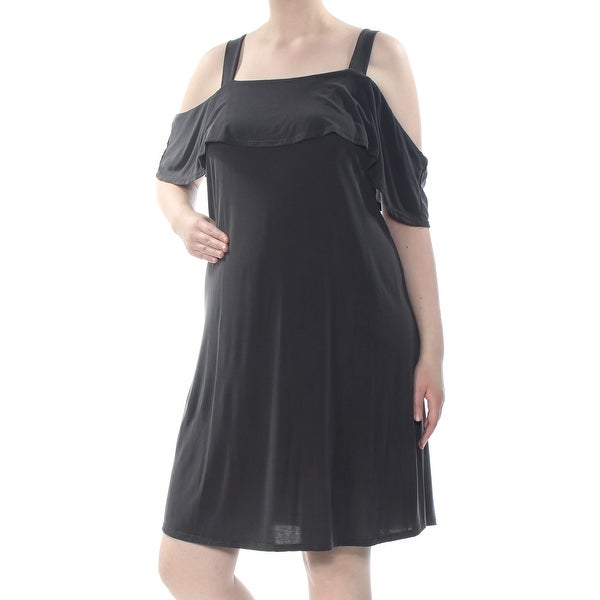MONTEAU Womens Black Cold Shoulder Spaghetti Strap Knee Length Dress Plus  Size: 2X