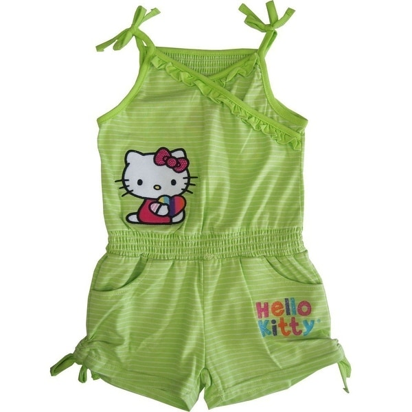 6a60397fd Shop Sanrio Little Girls Green Hello Kitty Ruffle Drawstring Detail Romper  4-6X - 5 - Free Shipping On Orders Over $45 - Overstock - 19292608
