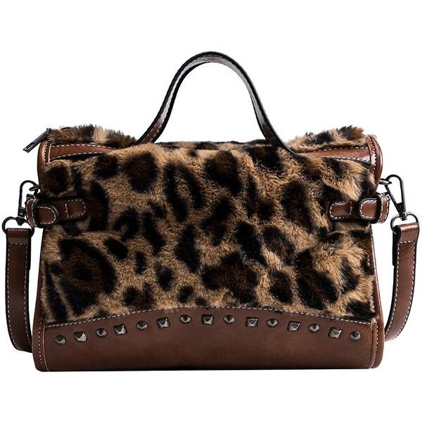 QZUnique Women  x27 s PU Plush Handbag Rivet Crossbody Bag Leopard Print  Shoulder Bag d64ac9e45e00
