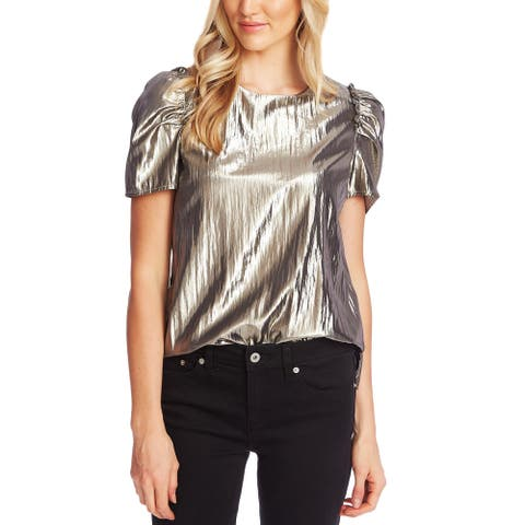 CeCe Womens Shell Metallic Puff Sleeves - Silver Charm - L
