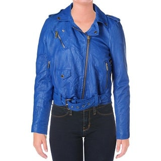 Michael Kors Womens Lamb Leather Long Sleeves Motorcycle Jacket - XS