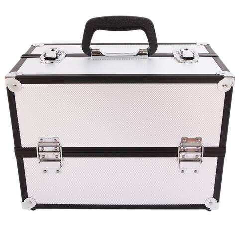 Aluminum Alloy Makeup Train Case Jewelry Box Organizer Travel Bag