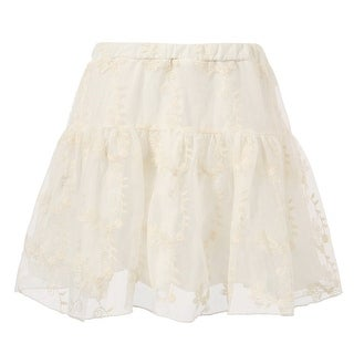 Richie House Little Girls White Lace Covered Overlock Embroidered Skirt 4-6