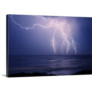 Premium Thick-Wrap Canvas entitled Electrical storm above Boambee Beach