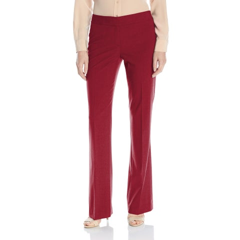 Nine West Bordeaux Red Women 12 Straight-Leg Stretch Dress Pants