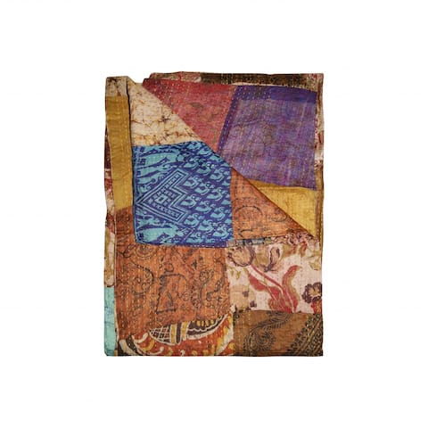 "HomeRoots 60"" x 90"" Multicolor/Silk - Throw"