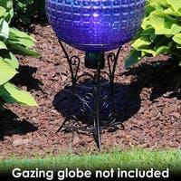 Sunnydaze Black Steel Decorative Scroll Outdoor Gazing Globe Ball Stand - 11-Inch