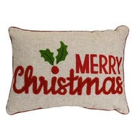 """Set of 2 Red and Brown Christmas Greetings Printed Decorative Throw Pillow 19.5"""""""