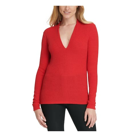 DKNY Womens Red Ribbed Long Sleeve V Neck Sweater Size L