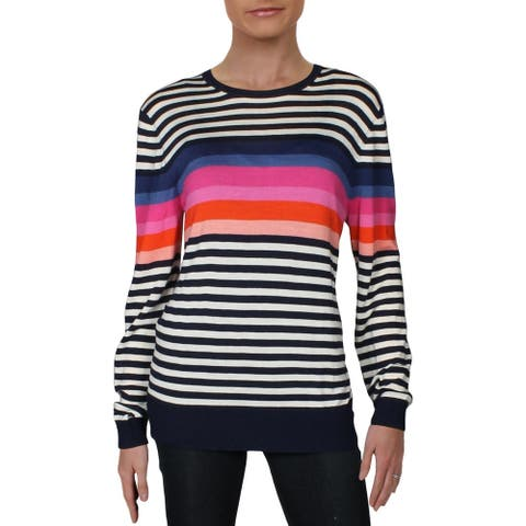 Trina Turk Womens Sweater Merino Wool Striped - Multi