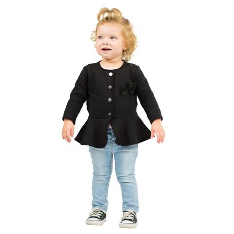Pulla Bulla Baby Girl Dress Coat Solid Bow Jacket