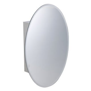Medicine Cabinet Brushed Stainless Oval Mirror Wall Mount Renovator's Supply - Silver