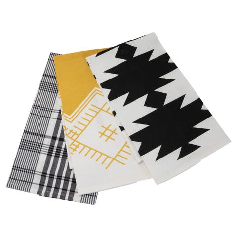 Foreside Home & Garden Set of 3 Plaid and Abstract Pattern 27 x 18 Inch Woven Kitchen Tea Towels