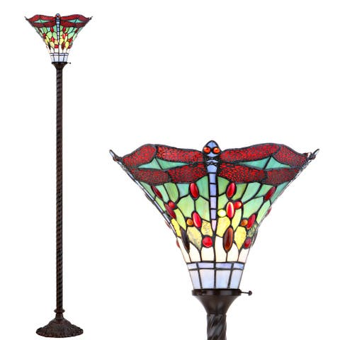 """Dragonfly Tiffany-Style 71"""" Torchiere LED Floor Lamp, Bronze/Red by JONATHAN Y - 71"""" H x 15"""" W x 15"""" D"""