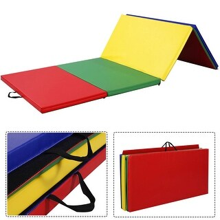 Costway 4'x8'x2'' PU Gymnastics Mat Gym Folding Panel Yoga Exercise Tumbling Pad 4 Colors - Multi-color