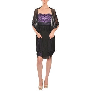 Mikael Aghal Lace Empire Waist Fringed Evening Shawl Dress - 6