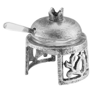 Honey Dish Pomegranate Shape Stainless Steel Brushed Silver On Stand w Spoon