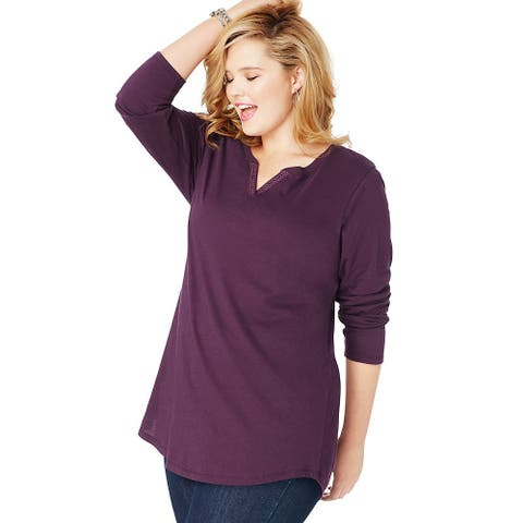 JMS Essentials Lightweight Split Neck Tunic - Size - 2X - Color - Plum Port