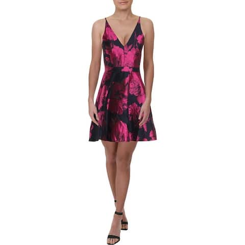 Aqua Womens Scuba Dress Floral V-Neck - Navy Multi