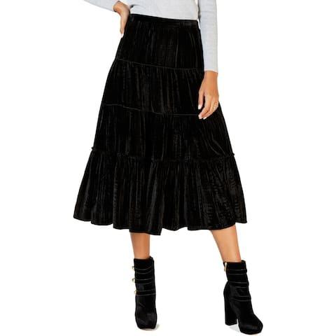MICHAEL Michael Kors Womens Midi Skirt Velvet Tiered