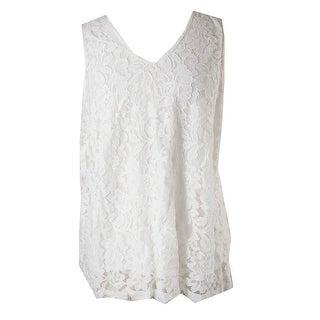 Alfani White Floral-Lace Sleeveless Top 4