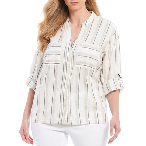 Foxcropt NYC Women's Blouse Beige White Size 6 Button Down Striped