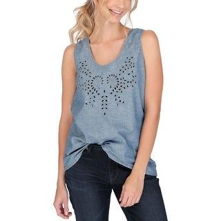 Lucky Brand Womens Tank Top Chambray Eyelet