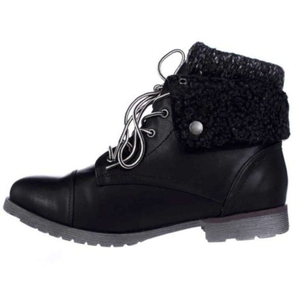 ROCK & CANDY Womens Spraypaint-H Closed Toe Ankle Fashion Boots, Black, Size 6.0