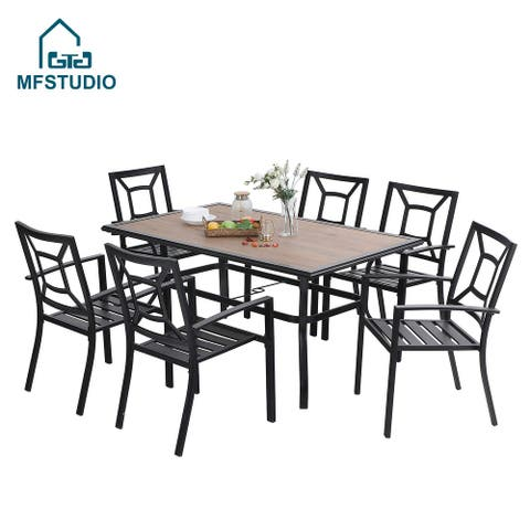 MFSTUDIO 7 PCS Patio Dining Set, Large Rectangular Wood Like Top Table with 6 Steel Chairs
