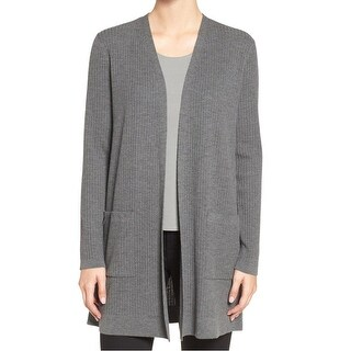 Eileen Fisher NEW Gray Womens Size Large L Ribbed Cardigan Sweater