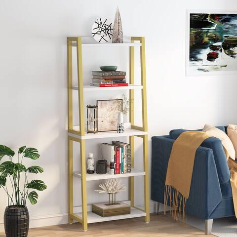 Industrial Bookcase, Ladder Bookshelf ,Organizer Dispaly Shelves